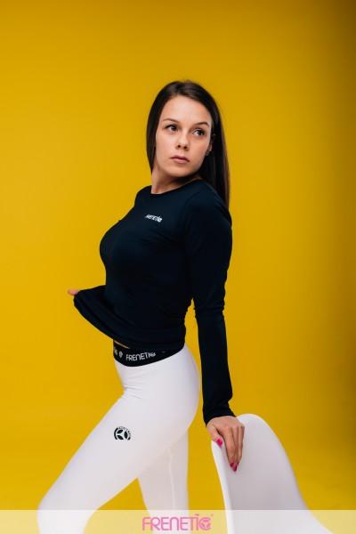 Bluza fitness -basic  -negru cu mânecă lungă-HiP-01