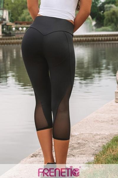 Colanti fitness, treisferturi -negru cu tull-Orsy-01