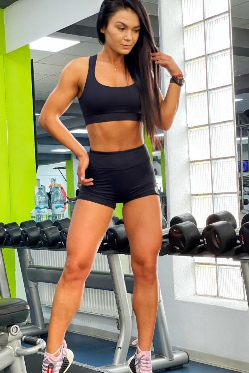Pantaloni scurti-fitness-talia inalta -negru-HALLY-01